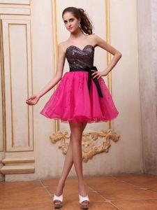 Black Sequin Sweetheart Mini-Length Fuchsia Pageant Dress with Bow in Sherbrooke