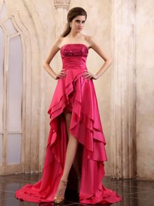 High-Low Sequin Layered Strapless Coral Red Pageant Dress for Prom in Saguenay