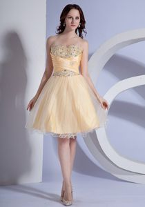 Light Yellow Knee-Length Beaded Strapless Pageant Dresses for Girls in Niagara Falls