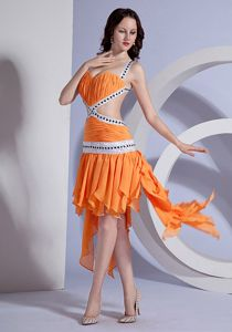 Orange Straps Short Ruched Appliqued Pageant Dress for Girls with Criss Cross Back