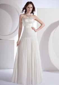 White Floor-Length Strapless Flounced Beaded Pageant Dress for Prom with Beading