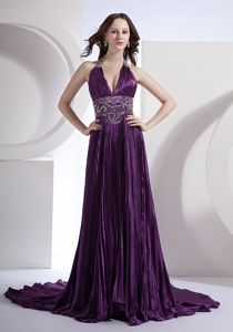 Deep V-Neck Halter Dark Purple Court Train Appliqued Pageant Dresses with Pleats