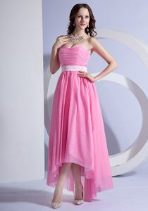Pink Strapless Ruched Asymmetrical Pageant Dresses for Prom with Belt in Granby