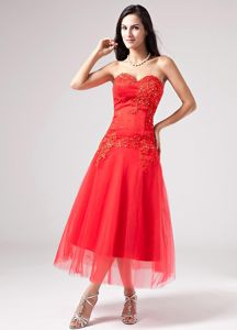 Red Sweetheart Tea-Length Pageant Dresses for Prom with Appliques in Belleville