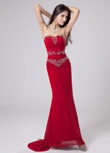 Red Strapless Brush Train Mermaid Pageant Dresses with Beading and Watteau Train
