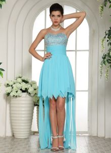 Aqua Blue Beaded Sweetheart High-Low Pageant Dresses for Girls in Port Coquitlam