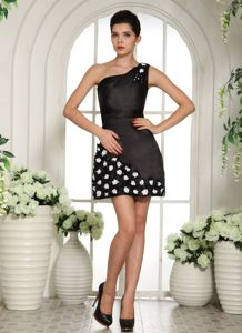 One-Shoulder Black Mini-Length Sheath Pageant Dress with Flowers in Fredericton