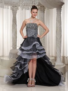 Layered High-Low Beaded Strapless Pageant Dress for Prom with Flower in Alberta