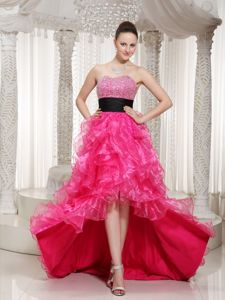 Beaded Sweetheart High-Low Ruffled Ruffled Pageant Dress for Prom with Black Belt