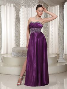Eggplant Floor-Length Strapless Pageant Dress with Slit and Beaded Waist and Bust