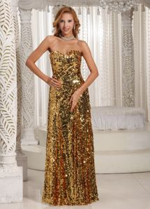 Gold Sequin Sweetheart Floor-Length Column Pageant Dress for Prom in Newmarket