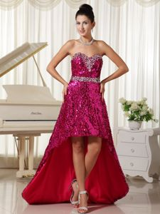High-Low Fuchsia Sequin Pageant Dress with Beaded Waist and Bust in Clarington