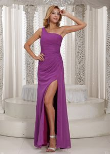 Simple One-Shoulder Fuchsia Floor-Length Ruched Pageant Dress with Slit in Pickering