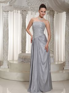 Gray Floor-Length Strapless Appliqued Pageant Dress with Pleats in North Vancouver