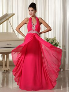 Halter Hot Pink Floor-Length Ruched Prom Pageant Dress with Appliques in Langley