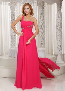 Hot Pink One-Shoulder Ruched Pageant Dress with Beading and Watteau in Whitby