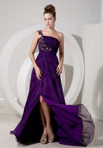 Eggplant Purple One-Shoulder Brush Train Appliqued Ruched Pageant Dress with Slit