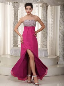 Fuchsia Floor-Length Strapless Pageant Dresses for Prom with Beading and Slit