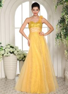Yellow One-Shoulder Sweetheart Floor-Length Sequin Pageant Dress with Flowers