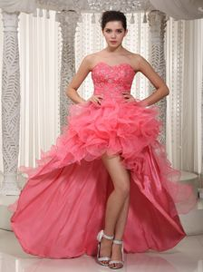 Sweetheart High-Low Beaded Pageant Dress for Miss World with Ruffles in Oshawa