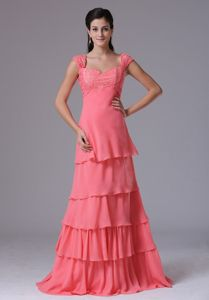 Watermelon Square Cap Floor-Length Ruched Appliqued Layered Prom Pageant Dress