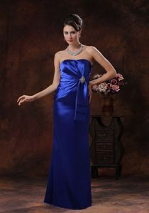 Simple Royal Blue Strapless Floor-Length Pageant Dresses Patterns with Appliques