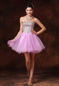 Lavender Mini-Length Sweetheart Ruffled Girl Pageant Dress with Beading in Regina