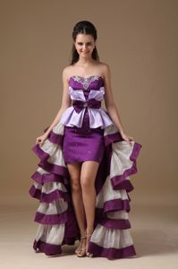 Strapless High-Low Layered Multi-Colored Pageant Dress with Bow and Appliques