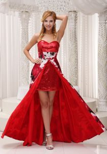 Hot Red Sweetheart Sequin Floral Printed Floor-Length Pageant Dress with High Slit