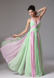 Multi-Colored Spaghetti Straps Ruched Floor-Length Girl Pageant Dress in Hamilton