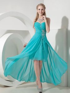 Turquoise Sweetheart High-Low Pageant Dress for Prom with Ruching and Appliques