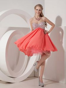 Mini-Length Beaded Sweetheart Watermelon Lovely Pageant Dress with Lac-up Back