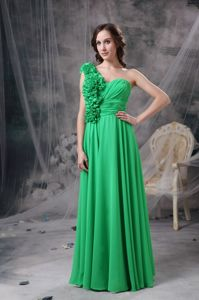 Green Empire One-Shoulder Ruched Floor-Length Prom Pageant Dress with Rosettes