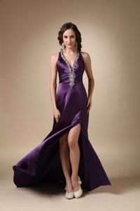 Dark Purple Beaded V-Neck Brush Train Pageant Dress with Slit and Criss Cross Back