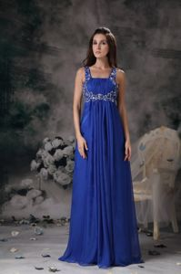Royal Blue Ruched Floor-Length Pageant Dress for Prom with Appliques in Whitby