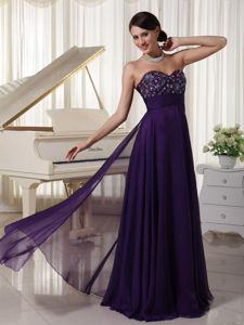 Dark Purple Sweetheart Floor-Length Pageant Dress with Appliques in Coquitlam