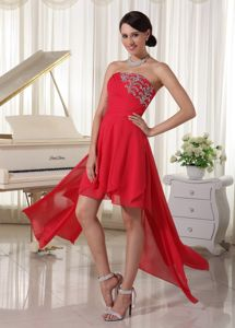 Strapless Red Asymmetrical Ruched Pageant Dress with Appliques in Thunder Bay