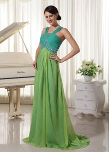 Aqua and Teal Straps Brush Train Ruched Pageant Dress with Beading in Saguenay