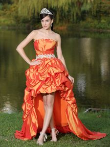 Orange High-Low Shell Neckline Pageant Dress with Appliqued Waist and Pick-ups