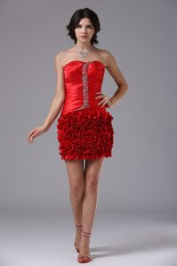 Red Mini-Length Strapless Beaded Ruched Pageant Dress with Rosettes in Oakville