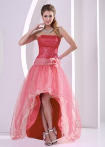 High-Low Watermelon Strapless Sequin Pageant Dress for Prom with Flower in Alaska