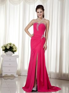 Fuchsia Sweetheart Brush Train Ruched Pageant Dress for Prom with Slit in Sarnia