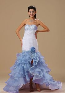 White Lilac Mermaid Beaded Sweetheart High-Low Pageant Dress with Flower in Regina