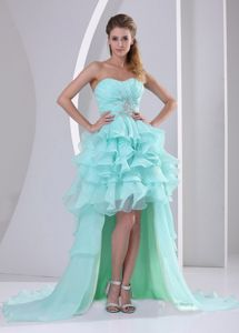 Apple Green Ruched Beaded Layered High-Low Pageant Dress for Prom with Ruffles