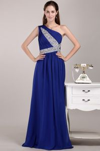 One-Shoulder Floor-Length Royal Blue Beauty Pageant Dress with Beading in Granby