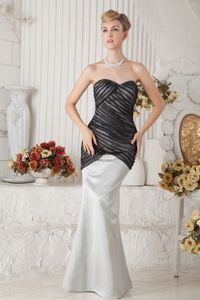 Black and Ivory Mermaid Sweetheart Floor-Length Pageant Dresses with Ruching