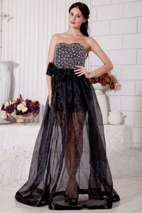 Black Sweetheart Floor-Length Beaded Pageant Dresses for Prom with Big Bow