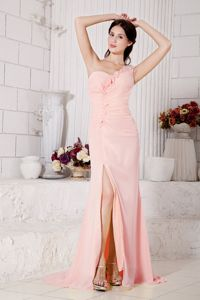 Peach One-Shoulder Brush Train Pageant Dresses for Prom with Slit and Flowers