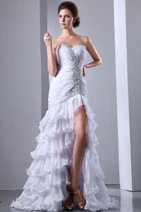 White Mermaid Layered Ruffled Sweetheart Brush Train Pageant Dress with Beading