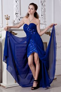 Royal Blue Sweetheart Ruched Embroidered Pageant Dress with Flowers and Slit